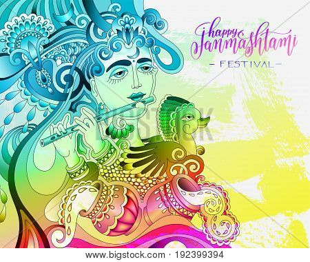 happy janmashtami celebration colorful design with a picture of a krishna who plays the flute and hand written lettering holiday text, vector illustration
