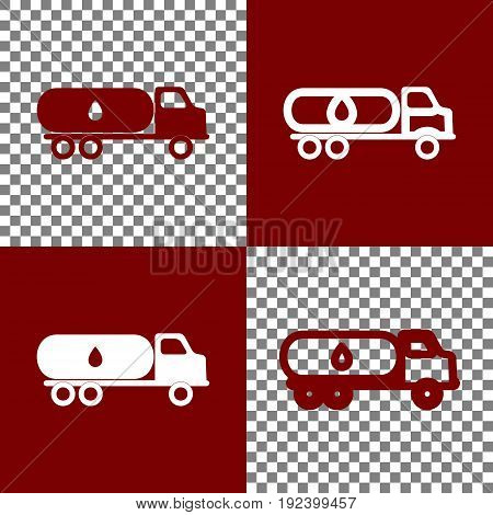 Car transports Oil sign. Vector. Bordo and white icons and line icons on chess board with transparent background.