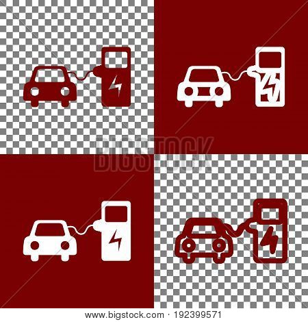 Electric car battery charging sign. Vector. Bordo and white icons and line icons on chess board with transparent background.