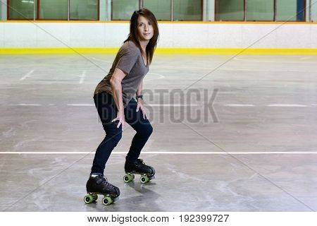 woman using derby style quad roller skates