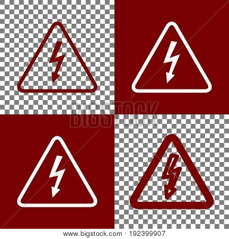 High voltage danger sign. Vector. Bordo and white icons and line icons on chess board with transparent background.