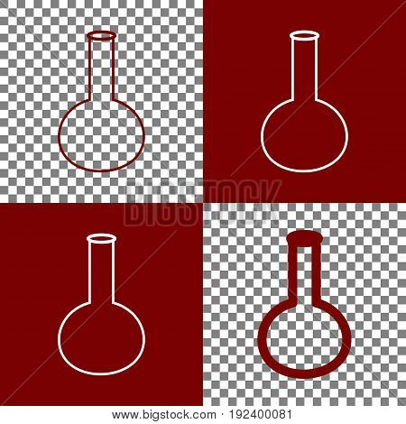Tube. Laboratory glass sign. Vector. Bordo and white icons and line icons on chess board with transparent background.