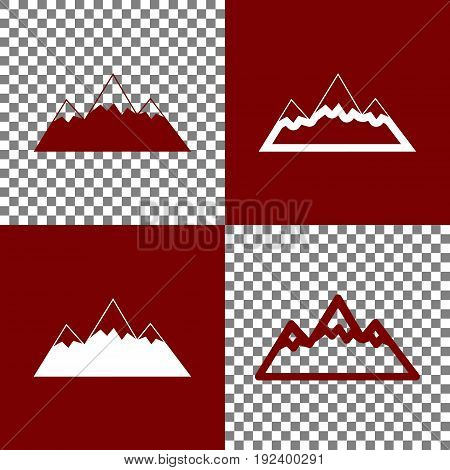 Mountain sign illustration. Vector. Bordo and white icons and line icons on chess board with transparent background.