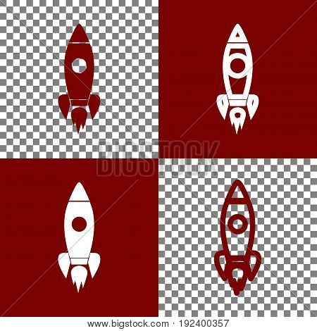 Rocket sign illustration. Vector. Bordo and white icons and line icons on chess board with transparent background.