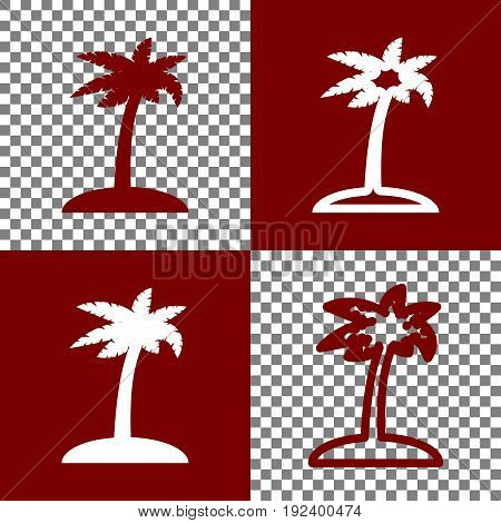 Coconut palm tree sign. Vector. Bordo and white icons and line icons on chess board with transparent background.