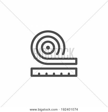 Roll insulation icon isolated on white. Vector illustration