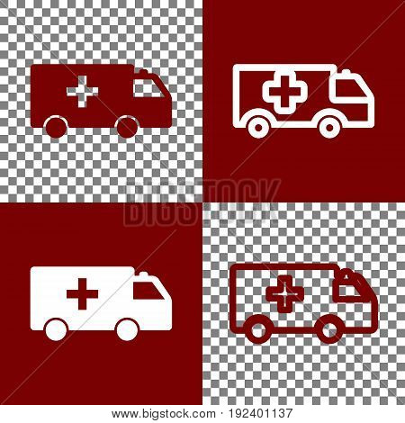 Ambulance sign illustration. Vector. Bordo and white icons and line icons on chess board with transparent background.