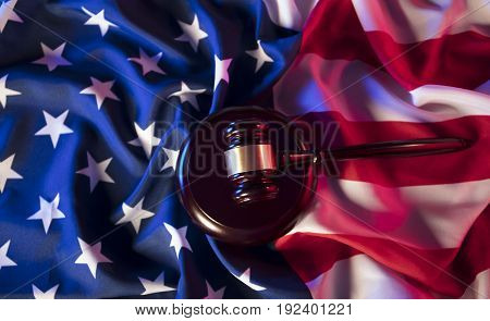 Independence Day theme. 4th of July. American Declaration of Independence Day theme. 4th of July. American Declaration of Independence Day concept. Gavel and american flag. Red and blue. Place for typography.