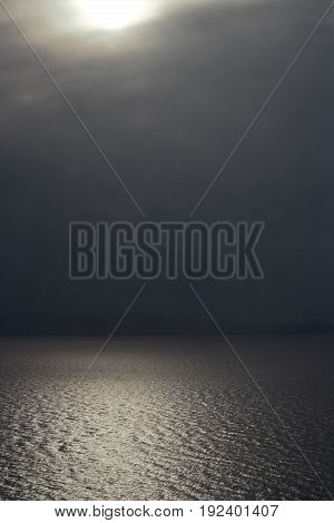Cloudy day in north gulf in calm weather, Vladivostok, Russia