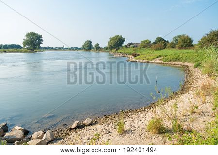 shoreline of the dutch IJssel river at deventer