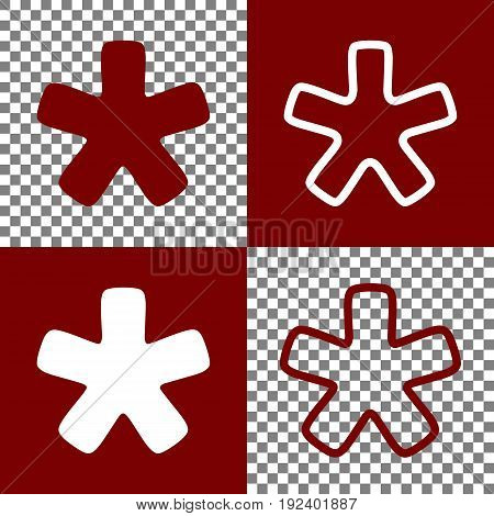 Asterisk star sign. Vector. Bordo and white icons and line icons on chess board with transparent background.