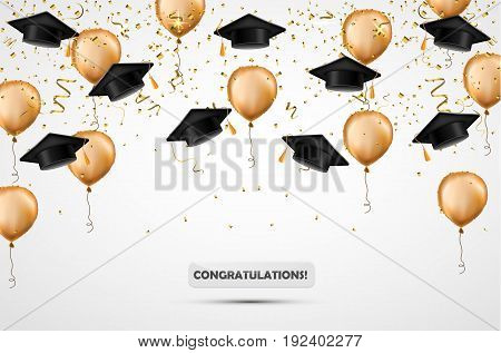 Graduation Hat. Confetti And Gold Balloons. Vector Illustration. Celebration Background. Student Cup