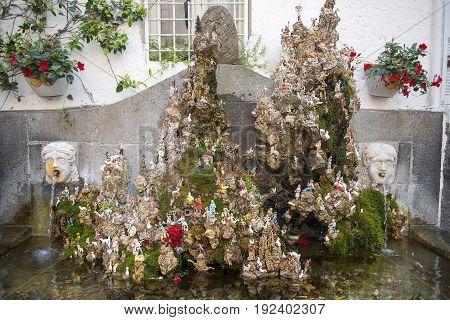 fountain Presepe with nativity scene in Piazza dello Spirito Santo, Amalfi, Italy