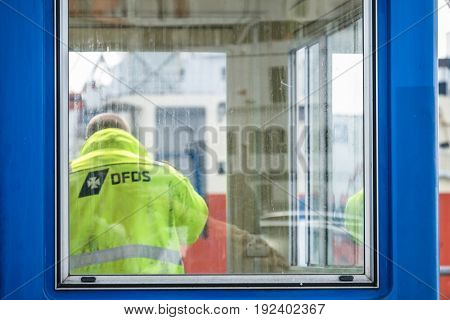 IJMUIDEN NETHERLANDS - MAY 12 2017 : Worker getting the ferry ready for the passengers