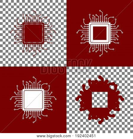 CPU Microprocessor illustration. Vector. Bordo and white icons and line icons on chess board with transparent background.