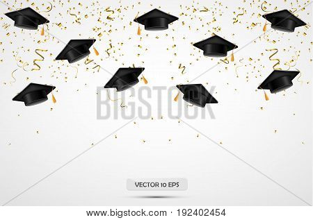 Graduation Hats With Confetti. Celebration Background. Vector.