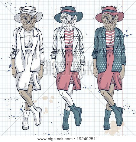 Vector set of 3 model with dog head and wide brimmed hat on a notebook page