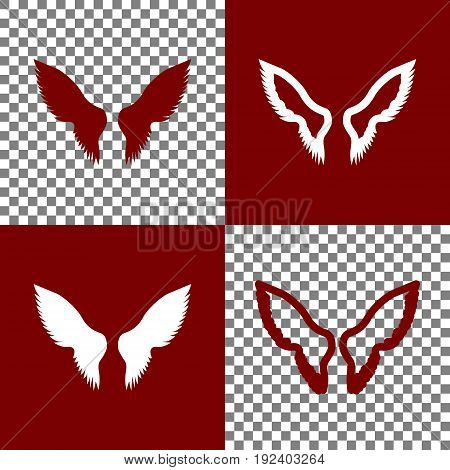 Wings sign illustration. Vector. Bordo and white icons and line icons on chess board with transparent background.