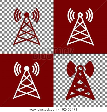 Antenna sign illustration. Vector. Bordo and white icons and line icons on chess board with transparent background.