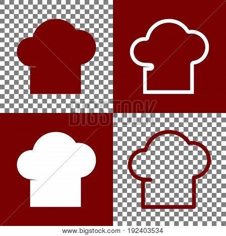 Chef cap sign. Vector. Bordo and white icons and line icons on chess board with transparent background.
