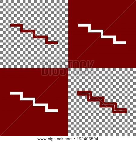 Stair down sign. Vector. Bordo and white icons and line icons on chess board with transparent background.