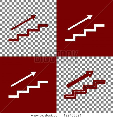 Stair with arrow. Vector. Bordo and white icons and line icons on chess board with transparent background.