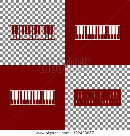 Piano Keyboard sign. Vector. Bordo and white icons and line icons on chess board with transparent background.