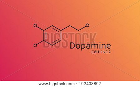 Dopamine molecular structure. Vector Chemical formula wallpaper. Cubic isometric pattern. Eps10 Vector. Red Yellow gradient background.