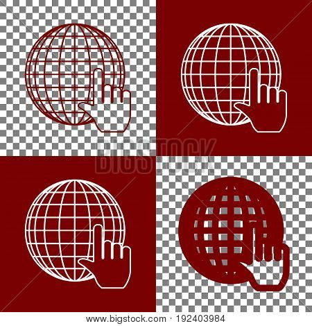 Earth Globe with cursor. Vector. Bordo and white icons and line icons on chess board with transparent background.