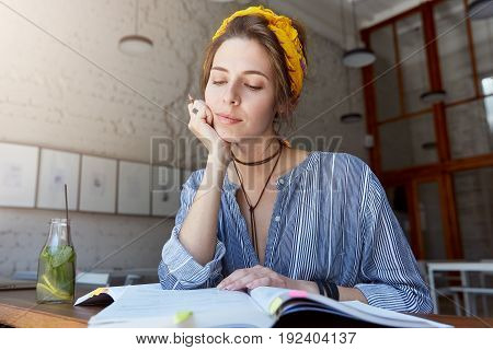 Fashionable Beautiful Talented College Girl Focusing On Home Assignment, Writing Essay, Reading Or L