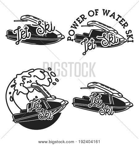 Vintage jet ski emblems, labels, badges and design elements. Vector illustration, EPS 10