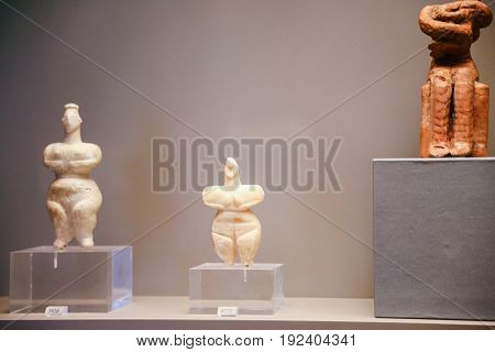 Ancient Cycladic Figurines In Museum In Athens