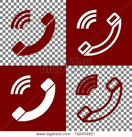 Phone sign illustration. Vector. Bordo and white icons and line icons on chess board with transparent background.