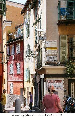 People On Street In Old City Of Nice