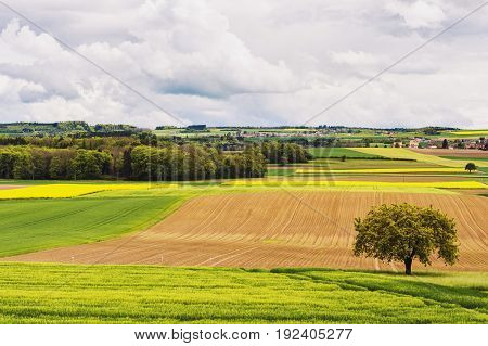 Farm land in spring image taken in Canton of Vaud Switzerland