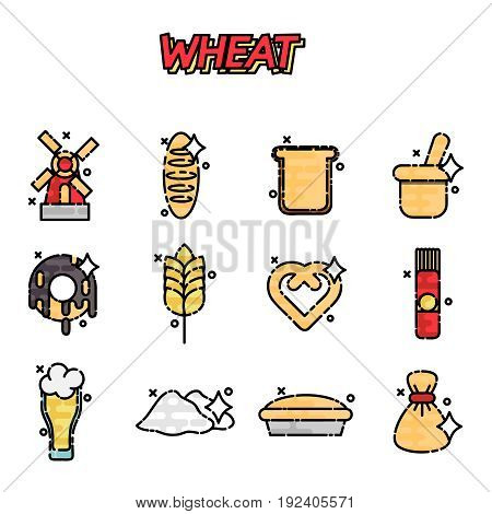 Wheat flat cartoon icons for bakery, bread store, agricultural company web page design.