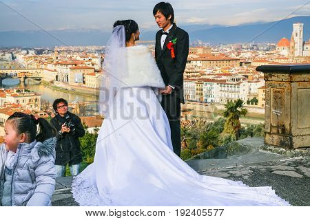 Groom And Bride During Wedding In Florence