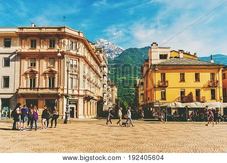 Aosta Italy May 25 2017. Italy Aosta People walking on Central Plaza Emilio Chanoux near Municipality building