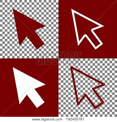 Arrow sign illustration. Vector. Bordo and white icons and line icons on chess board with transparent background.