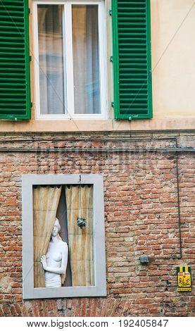 Sculpture In Window Of Residential House In Siena