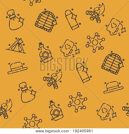 Wild west concept icons pattern. Vector illustration, EPS 10