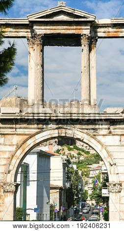 Arch Of Hadrian Over Street In Athens
