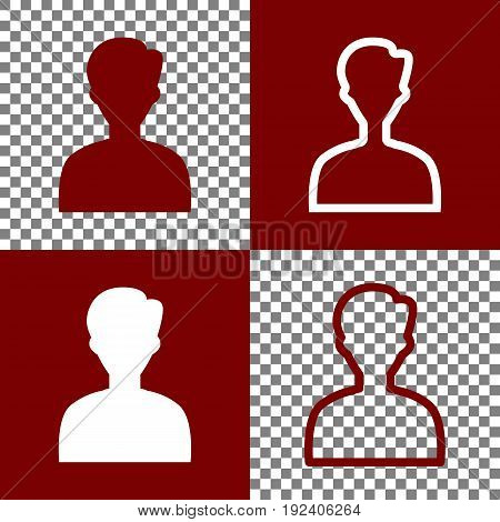 User avatar illustration. Anonymous sign. Vector. Bordo and white icons and line icons on chess board with transparent background.