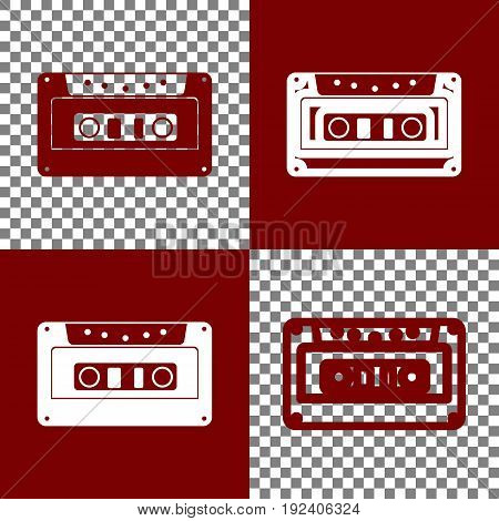 Cassette icon, audio tape sign. Vector. Bordo and white icons and line icons on chess board with transparent background.