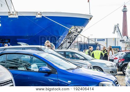 IJMUIDEN, NETHERLANDS - May 14 2017: Passengers are waiting to get on the Princess of seaways ferry to Newcastle