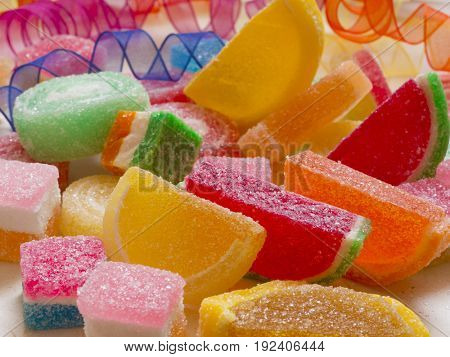 colorful sweets with crystal sugar