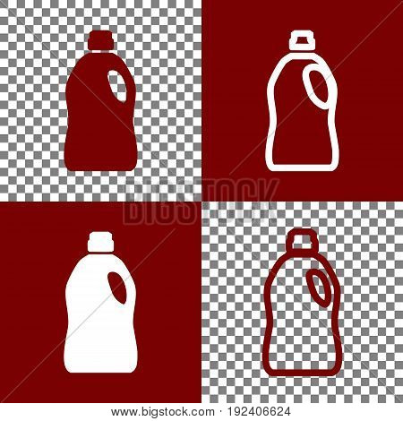 Plastic bottle for cleaning. Vector. Bordo and white icons and line icons on chess board with transparent background.