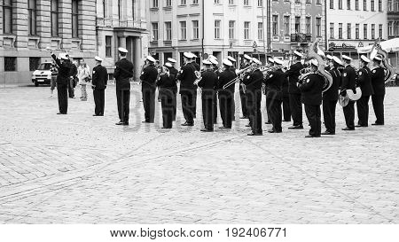 Military Band Playing Music On Square In Old Riga