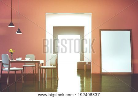 Pink dining room interior with a table three chairs and a framed vertical poster standing on the floor near a door to a dining room. 3d rendering mock up