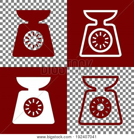 Kitchen scales sign. Vector. Bordo and white icons and line icons on chess board with transparent background.